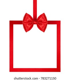 close up of a bright red silk ribbon bow with ribbon square frame on white background