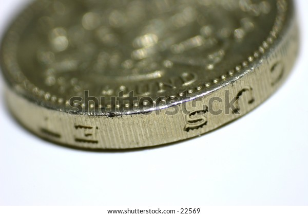 Close up of british one pound £ coin. Tail side up.