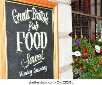Close up of British pub sign board