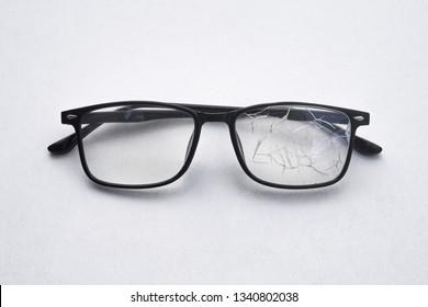 Close up of broken black glasses texture