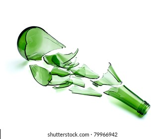 close up of  a broken green bottle on white background with clipping path