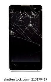 close up Broken mobile phone