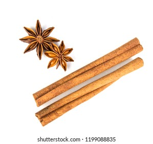 Close up brown cinnamon stick with star anise spice isolated on white background , overhead and top view