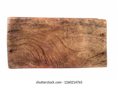 Close up of brown colored wooden rectangular piece isolated on white.