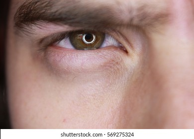 Close up of brown eyes from a young angry man
