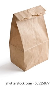 Close up of brown lunch bag isolated on white background.
