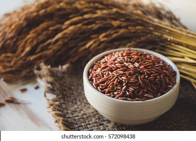 Close up of brown rice in white cup on sackcloth ,Spike background