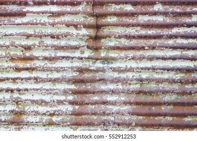 Close up of  brown rusty and old galvanize iron, with crack