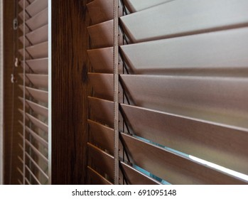 Close Up : Brown Wooden Blinds