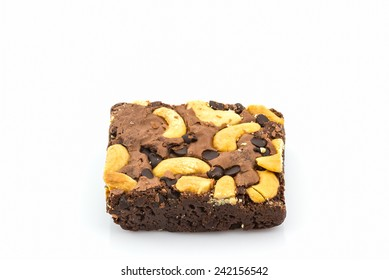 Close up Brownie cake on white background .