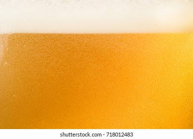 Close up bubble of beer in glass for background