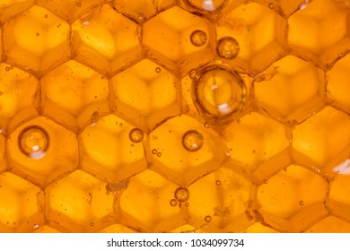 Close Up of Bubbles in Honey Comb with Macro Lens