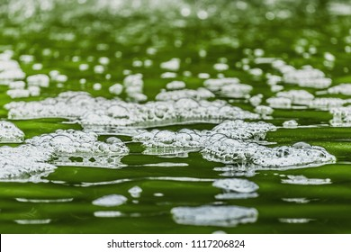 Close up Bubbles on the water,waste water green,toxic bubbles on water surface environmental pollution of nature from effluent factory.
