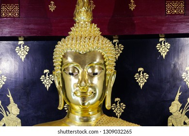 Close up of Buddha image. Reverence in Buddhist.