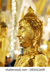 Close up of Buddha statue gilded in the temple.Holyday in Thailand.