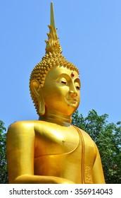 Close up Buddha statue in public