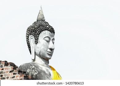 Close up of buddha statue in Wat yai chaimongkhon, Ayutthaya province, Thailand