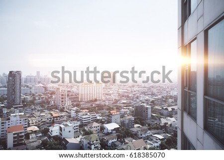 Close Up Of Building In Bangkok On City Background Wallpaper Backdrop