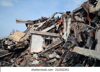 Close up of building ruins.
