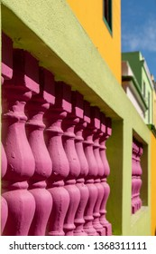 Close up buildings in the Malay Quarter, Bo-Kaap, Cape Town, South Africa. Historical area of brightly painted houses in the city centre, housing largely Muslim families.
