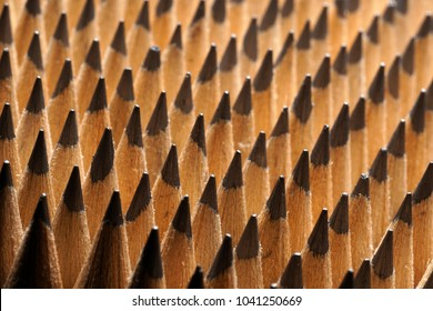 Close Up of bunch of identical sharp graphite pencils. Studio shot. Concept of uniformity. Concept of similarity.