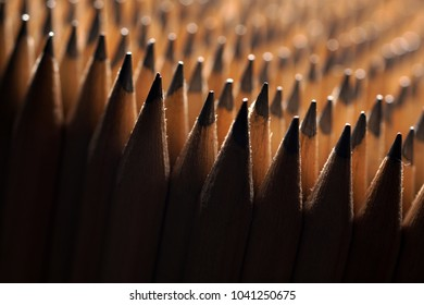 Close Up of bunch of identical sharp graphite pencils with shallow depth of field. . Studio shot. Concept of uniformity. Concept of similarity.