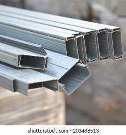 close up bunch of steel channel