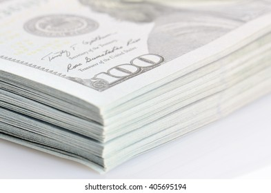 close up bundle of hundred dollars bank notes