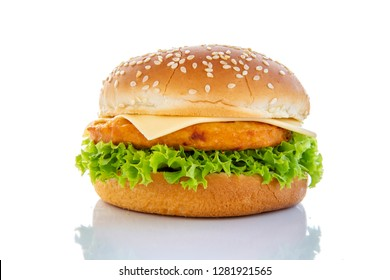 Close up of Burger isolated on white Background. Fast Food