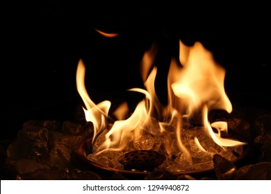 Close up of Burning firepit at night