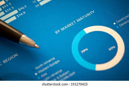 A close up of a business annual report on market maturity.