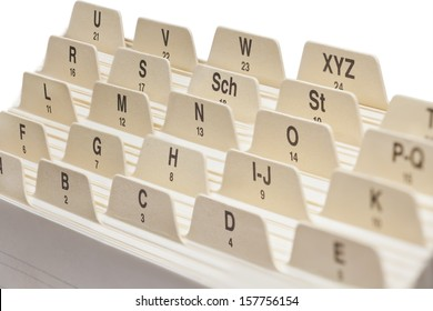 Close up of a Business card index.