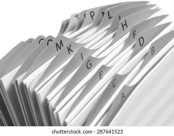 Close up of a Business card index. Monochrome