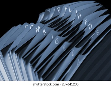 Close up of a Business card index. Negative