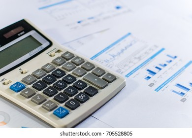 Close up business concept, Calculator on financial report on table office