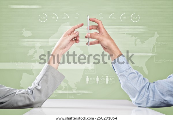 Close up of business people hands using mobile phone