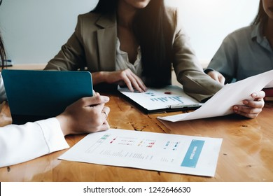 Close up of Business People Meeting Design Ideas for marketing plan  Concept. business planning