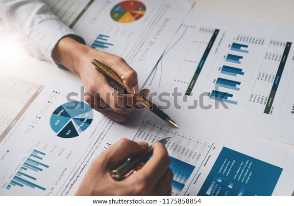 Close up Business people meeting to discuss the situation on the market. Business Financial Concept