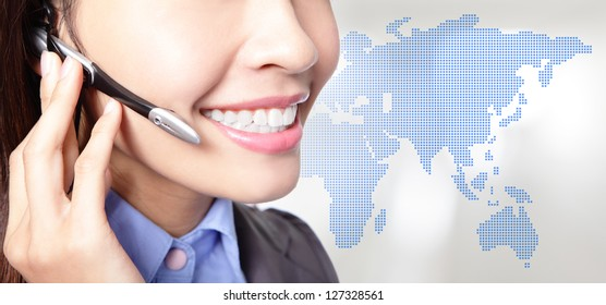 close up of business woman operator in headset smile face with asia map background, asian beauty model