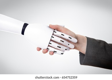 close up of business woman shaking hands with a robot