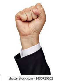 close up of a businessman hand raised fist on white background
