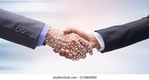 close up businessman hand shake with virtual AI hologram on blur technology background (isolated with path)