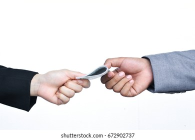 Close of businessman hands holding on white background