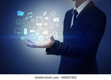 Close up of businessman holding social media icon
