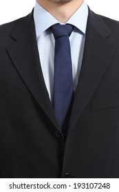 Close up of a businessman suit and necktie isolated on a white background