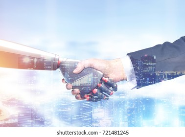 Close up of a businessman in a suit and a robot shaking hands. Blurred cityscape background. Concept of innovation in business. Toned image double exposure