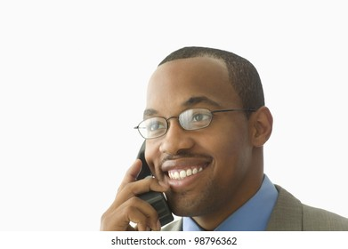 Close up of businessman talking on cell phone