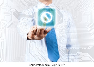 Close up of businessman touching icon on media screen