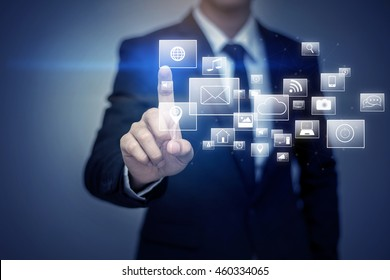 Close up of businessman touching social media icon