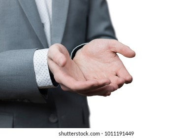 Close up of businessman's empty handsholding something with white background